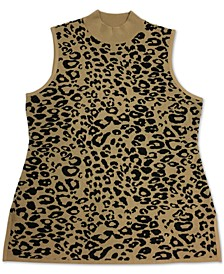Plus Size Leopard-Print Mock-Neck Sweater, Created for Macy's