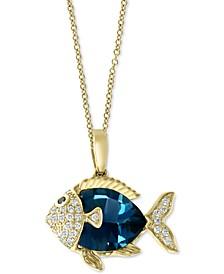"EFFY® London Blue Topaz (3-3/8 ct. t.w.) & Diamond (1-1/3 ct. t.w.) Fish 18"" Pendant Necklace in 14k Gold"