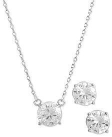 Silver-Tone Cubic Zirconia Pendant Necklace & Stud Earrings Set, Created for Macy's