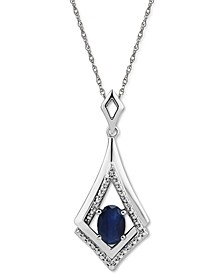 """Emerald (7/8 ct. t.w.) & Diamond Accent 18"""" Pendant Necklace in Sterling Silver (Also in Sapphire & Ruby)"""