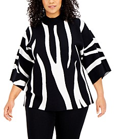 Plus Size Zebra-Print Sweater, Created for Macy's