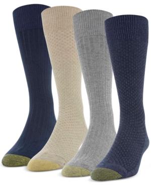 Men's 4-Pack Basket Weave & Rib Socks