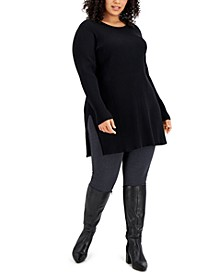 Plus Size Solid Ribbed Tunic Top, Created for Macy's