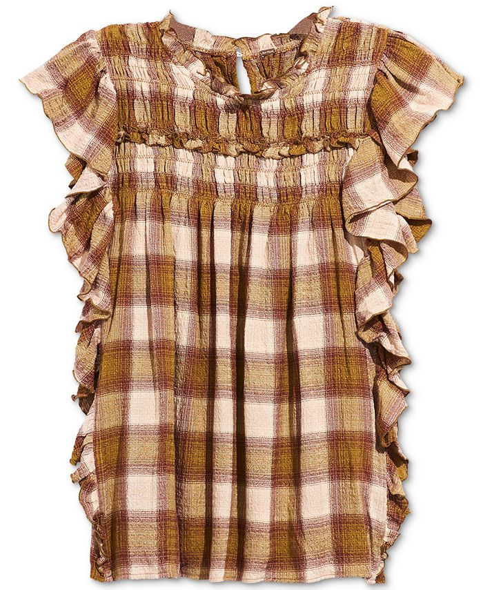 Free People - Not Your Average Girl Plaid Ruffled Top