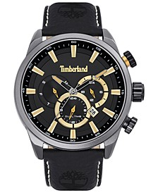 Men's Black Leather Strap Watch 46mm