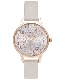 Women's Abstract Florals Pearl Pink Leather Strap Watch 30mm