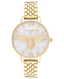 Women's Lucky Bee Gold-Tone Bracelet Watch 34mm