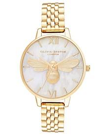 Women's Lucky Bee Gold-Tone Bracelet Watch 34mm