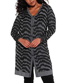 Black Label Women's Plus Size Metallic Button Down Duster Cardigan