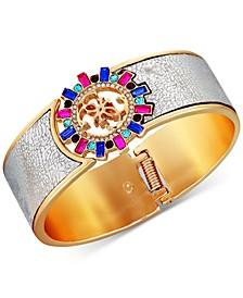Gold-Tone Multicolor Crystal & Logo Charm Faux-Leather Bracelet