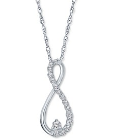 "Diamond Infinity 18"" Pendant Necklace (1/10 ct. t.w.) in 10k White Gold"