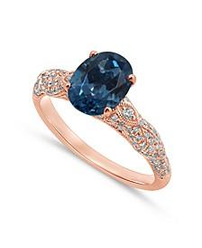Gemstone Bridal London Blue Topaz (2 ct. t.w.) & Diamond (3/8 ct t.w.) Engagement Ring in 14k Rose Gold