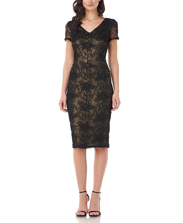 JS Collections Textured V-Neck Sheath Dress
