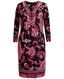 Plus Size Printed Nadia Y-Neck Dress, Created for Macy's