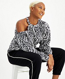 CULPOS x INC Snake-Print Cold-Shoulder Top, Created for Macy's