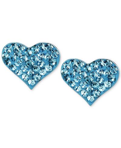 Betsey Johnson Silver-Tone Heart Blue Crystal Stud Earrings