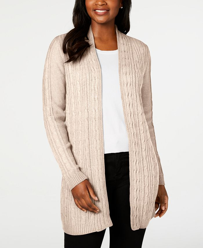Karen Scott - Plus Size Cable-Knit Open-Front Cardigan Sweater