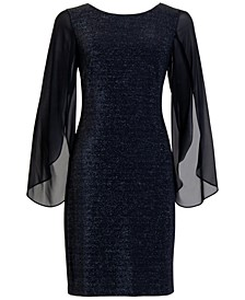 Plus Size Glitter Chiffon-Sleeve Sheath Dress