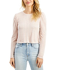 Juniors' Pointelle Hacci Puff-Sleeve Top
