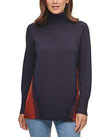 Mixed-Media Turtleneck Sweater