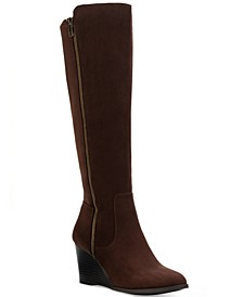 Wynterr Wide-Calf Wedge Dress Boots, Created for Macy's