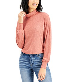 Juniors' Ribbed Bishop-Sleeve Top