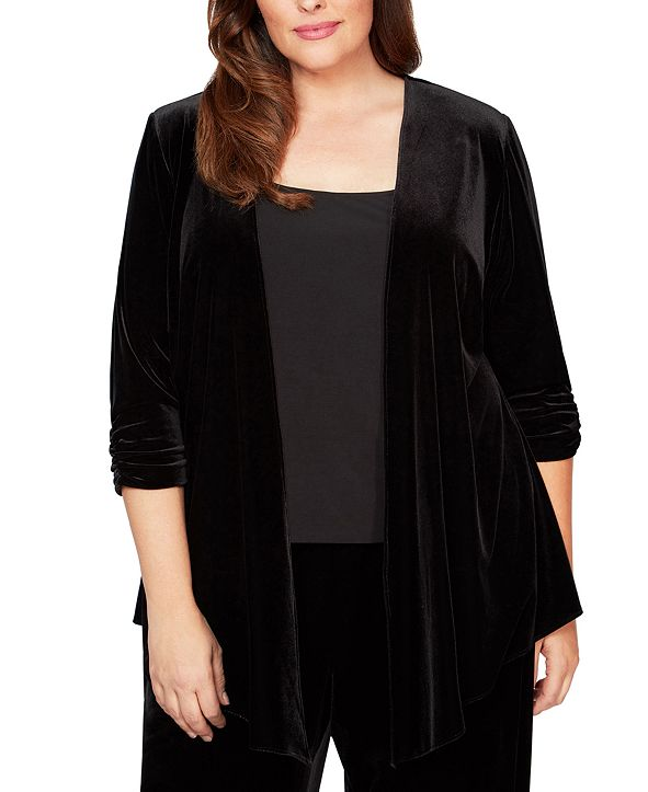 Alex Evenings Plus Size Pointed-Hem Velvet Jacket
