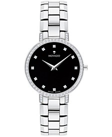 Women's Swiss Faceto Diamond (1/4 ct. t.w.) Stainless Steel Bracelet Watch 28mm
