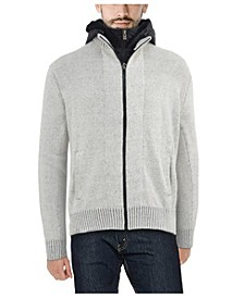 Men's Full-Zip Sweater Jacket with Fluffy Fleece Lined Hood