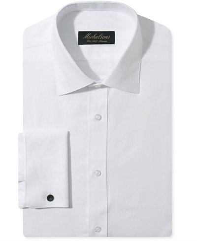 Michelsons Slim-Fit Chevron Textured French Cuff Tuxedo Shirt ...