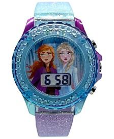 Kid's Frozen 2 Digital Glitter Silicone Strap Watch 34mm
