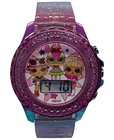 Kid's LOL Surprise Digital Rainbow Glitter Silicone Strap Watch 34mm