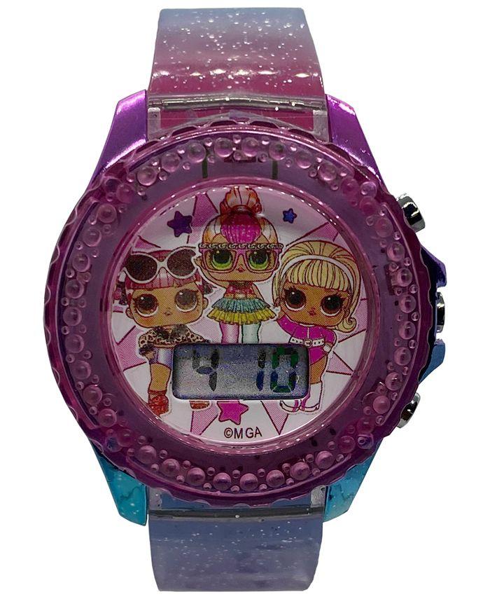 Accutime - Kid's LOL Surprise Digital Rainbow Glitter Silicone Strap Watch 34mm