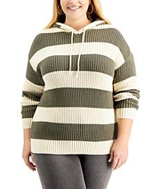 Plus Size Striped Ribbed Hoodie Sweater, Created for Macy's