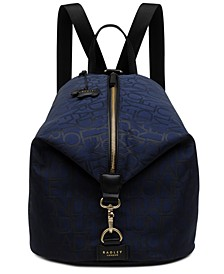 Signature Jacquard Large Zip Top Backpack