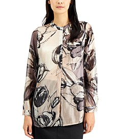 Printed Mandarin-Collar Tunic, Created for Macy's