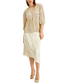 Sequined Ruched Neck Top, Created for Macy's