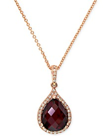 Gemma by EFFY® Garnet (4-1/5 ct. t.w.) and Diamond (1/8 ct. t.w.) Pear Pendant in 14k Rose Gold