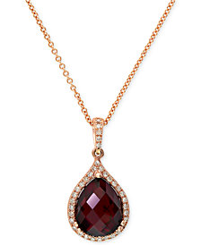 Gemma by EFFY Garnet (4-1/5 ct. t.w.) and Diamond (1/8 ct. t.w.) Pear Pendant in 14k Rose Gold