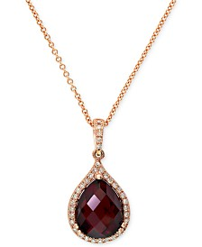 Gemma by EFFY Garnet (4-1/5 ct. t.w.) and Diamond (1/8 ct. t.w.) Pear Pendant in 14k Rose Gold