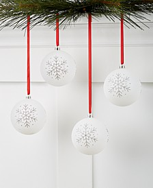Chalet White Snowflake Shatterproof Ornaments, Set of 4, Created for Macy's