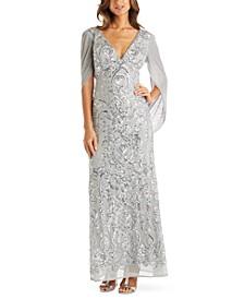 Sequin Drape-Back Cape Gown