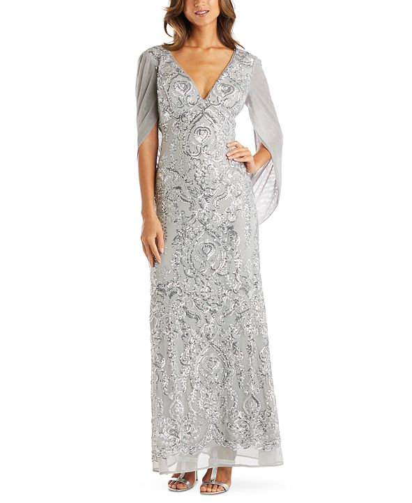 R & M Richards Sequin Drape-Back Cape Gown