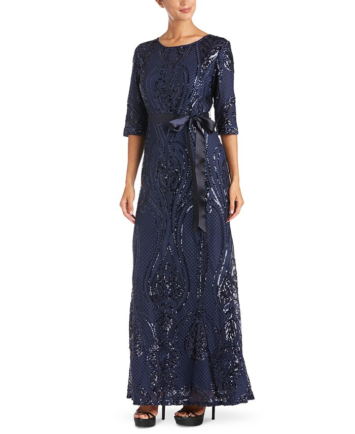 R & M Richards - Sequin Embroidered Gown