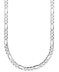 "Men's Sterling Silver Necklace, 22"" 8mm Figaro Chain"