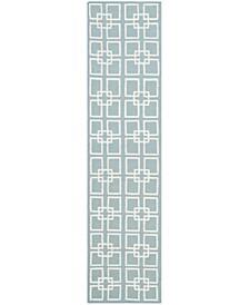 """Square Dance MSR1151B Aqua 2'3"""" x 9' Runner Rug"""