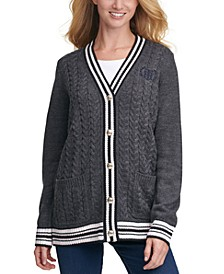 Contrast-Trim Button-Front Cardigan