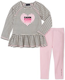 Baby Girls 2-Pc. Stripe Logo-Print Tunic & Leggings Set
