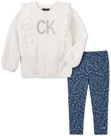 Baby Girls 2-Pc. Ruffled Top & Floral-Print Leggings Set