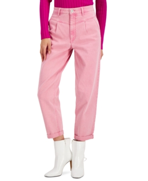 80s Jeans, Pants, Leggings Inc Yoke-Front Tapered Pink Ankle Jeans Created for Macys $62.65 AT vintagedancer.com